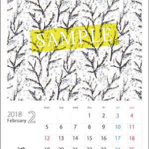 2018年2月分 Chu-coolカレンダー3種セット(おまけのパターンペーパー付き)