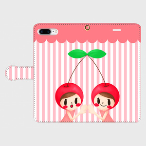 ふたごのさくらんぼ 手帳型スマホケース iPhone8Plus/7Plus//6sPlus/6Plus/Android L