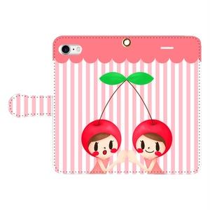ふたごのさくらんぼ 手帳型スマホケース iPhoneⅩ/8/7/6s/6/SE/Android M/S