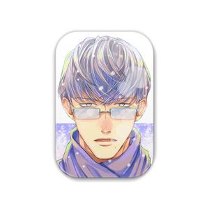 『冬眼鏡男子』缶バッジ(角丸長方形)
