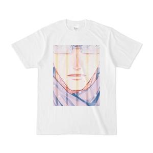 『冬眼鏡男子』白Tシャツ(B)ストライプ