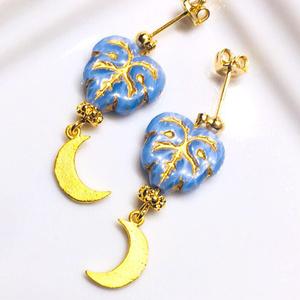 <ピアス>輝く月と儚い青 /ユエルン