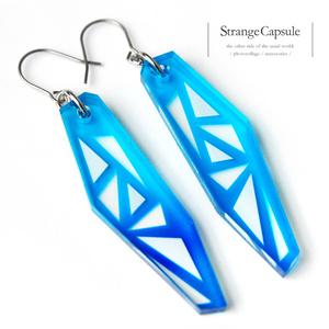 【stained glass/blue】ピアス・イヤリング│アクリルアクセサリー│││ユニーク│クリア│個性的│かっこいい