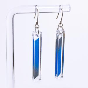【clean/瑠璃】ピアス・イヤリング|アクリルアクセサリー|||モード系|ユニーク|個性的|ストリート系|メンズ|スティック|揺れる|青|和装|浴衣|着物