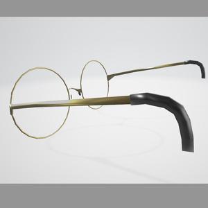 【3Dモデル】金の丸眼鏡【.objもあるよ】