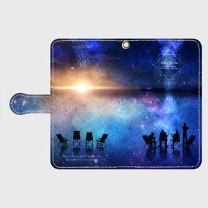 手帳型スマホカバーMサイズ -Camp and starry sky and dawn-