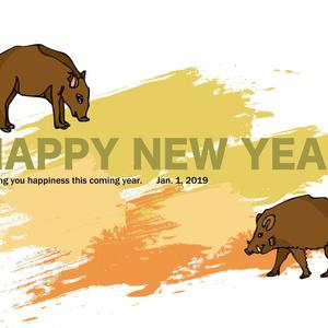 亥年の猪のイラスト年賀状