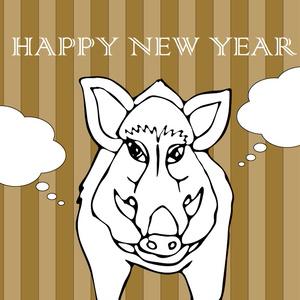 2019亥年の猪のイラスト年賀状イノシシ