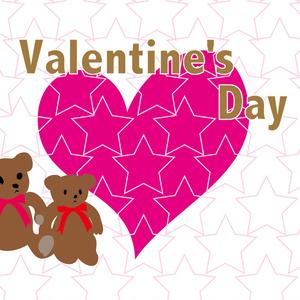 バレンタインのハートのかわいいテディーベアのくまちゃんのカード