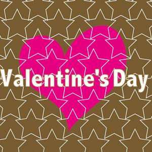 バレンタインのかわいいハートと星のカード