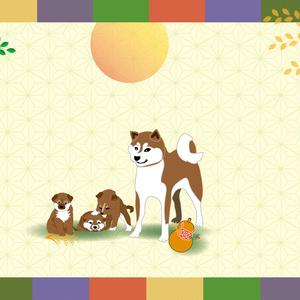 柴犬とひょうたんと稲穂の郵便葉書
