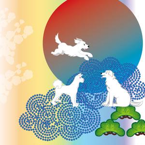 柴犬と松の木と日の出の年賀状テンプレート