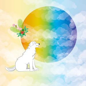 白い可愛い犬と日の出の年賀状テンプレート