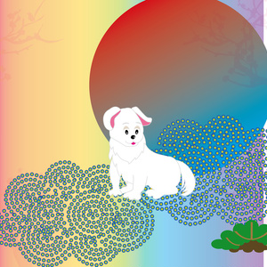 三匹の白い犬と日の出の年賀状テンプレート