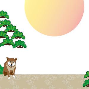 柴犬とひょうたんと松の木の年賀状テンプレート