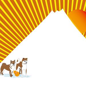 日の出の富士山と柴犬とひょうたんのポストカード