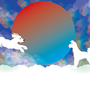 元気な白い犬と日の出のメッセージカード