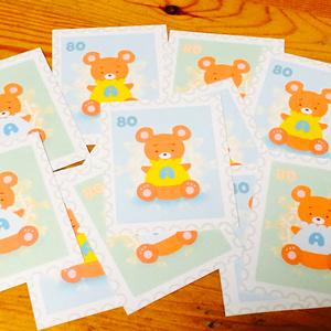 くまの子切手型メッセージカード