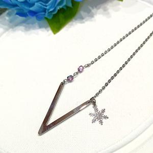 雪の結晶2連ネックレス
