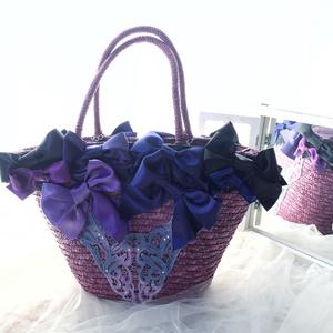 Bows Straw Bag / Purple