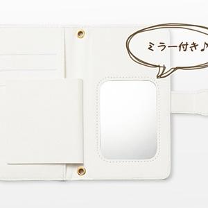 Android iPhone両対応【ミラー付き手帳型スマホケース】小花クリームイエロー