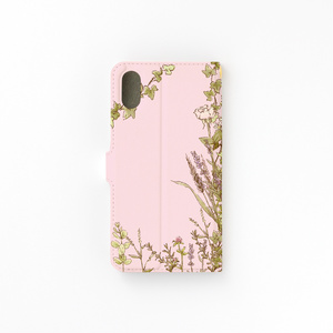 【カメラ穴あり】iPhone/Android対応 お散歩ハリネズミ ピンク【手帳型スマホケース】