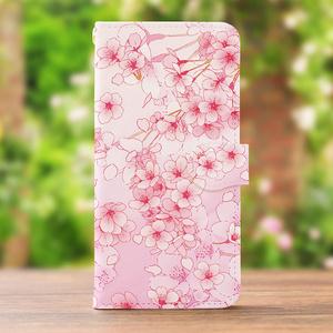 送料無料♪【カメラ穴あり】iPhone/Android対応 桜ピンク【手帳型スマホケース】