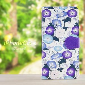 送料無料♪【カメラ穴あり】iPhone/Android対応 和柄あさがお・青紫 【手帳型スマホケース】