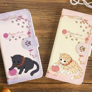 送料無料♪【カメラ穴あり】iPhone/Android対応 いたずら猫のスマホケース 黒猫 【手帳型スマホケース】