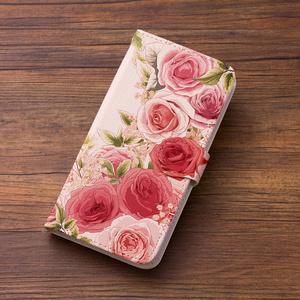 送料無料♪【カメラ穴あり】iPhone/Android対応 ローズガーデンピンク【手帳型スマホケース】