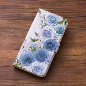 送料無料♪【カメラ穴あり】iPhone/Android対応 ローズガーデンブルー【手帳型スマホケース】