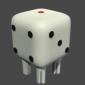 【3Dモデル】サイコロに足を生やしたモデル