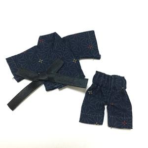 【着せ替えドレス完成品】11cmドールの甚平(紺)
