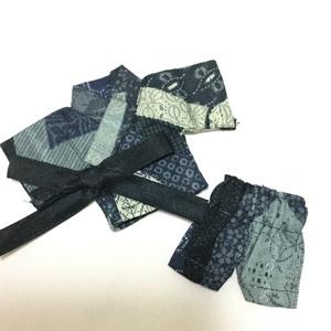【着替ドレス完成品】11cmドールの甚平(紺×水色)