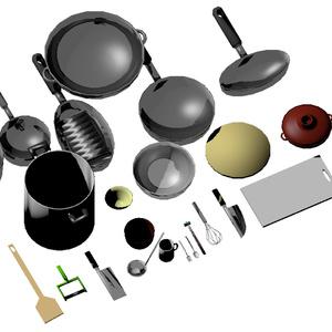 【無料ゲーム公開中】3Dモデル 食器・調理道具セット ゲーム・漫画等利用可