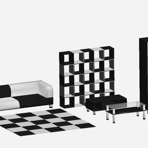 3Dモデル ツートン家具セット ゲーム・漫画等利用可