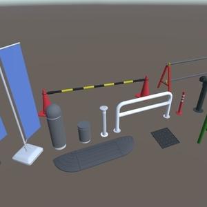 3Dモデル 街中道具セット(ゲーム・漫画等利用可)