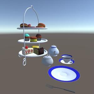 3Dモデル アフタヌーンティーセット(ゲーム・漫画等利用可)