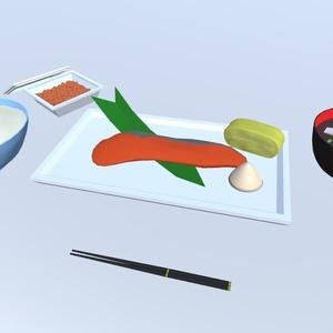 3Dモデル 和食セット(ゲーム・漫画等利用可)