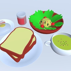 3Dモデル 洋食セット(ゲーム・漫画等利用可)