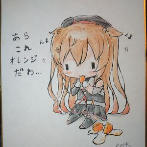 【直筆ミニ色紙】艦これ(夕立・時雨・村雨 みかんver)4種