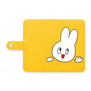 青色うさぎ(黄) 手帳型Androidケース