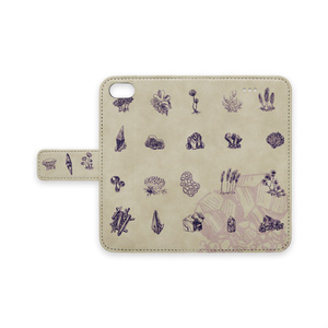 変形菌と鉱石の手帳型ケース