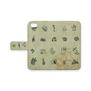 変形菌と鉱石の手帳型ケース(カーキ)