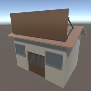 【3Dモデル】看板付きの家