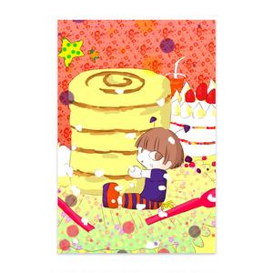人形お菓子ポストカード
