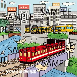 東京イラスト「御茶ノ水・聖橋より」