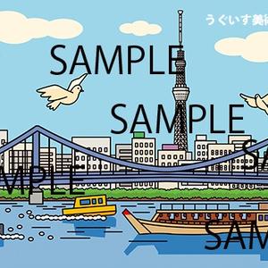 東京イラスト「スカイツリーと清洲橋と隅田川」