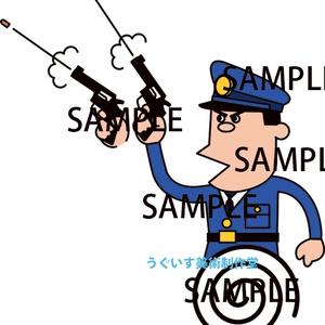 昭和イラスト「泥棒と警官」