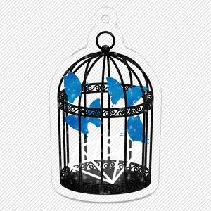 青い蝶と鳥籠 キーホルダー